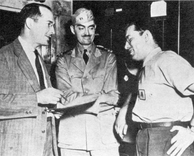 Robert A. Heinlein, L. Sprague de Camp, and Isaac Asimov, Philadelphia Navy Yard, 1944