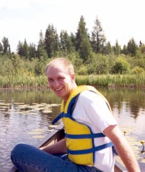 Troy in a canoe