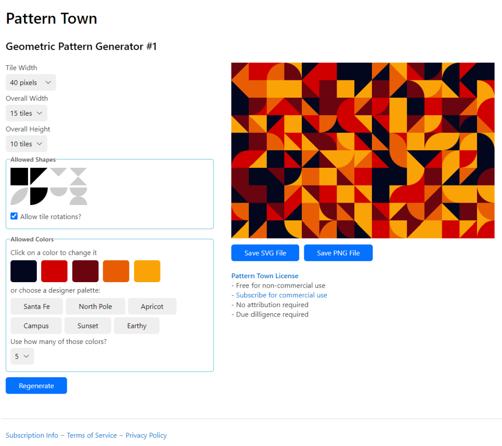 A screenshot of Pattern Town's first web app, Geometric Pattern Generator #1, showing the user interface and an example generated pattern.